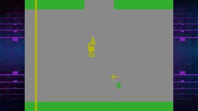 Her har jeg (den grønne firkanten) drept dragen (det som ser ut som en and) med sverden (det som ser ut som en pil).