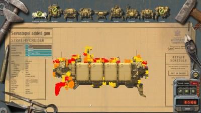 Hovedskipet mitt. Alt det røde er skadde komponenter. Det går nok bra!