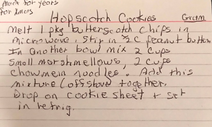 Hopscotch Cookies | Grandmas's Recipe Handwritten recipe from grandma.