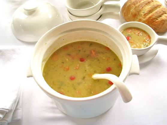 Bean Soup with Bacon and Crunchy Rice