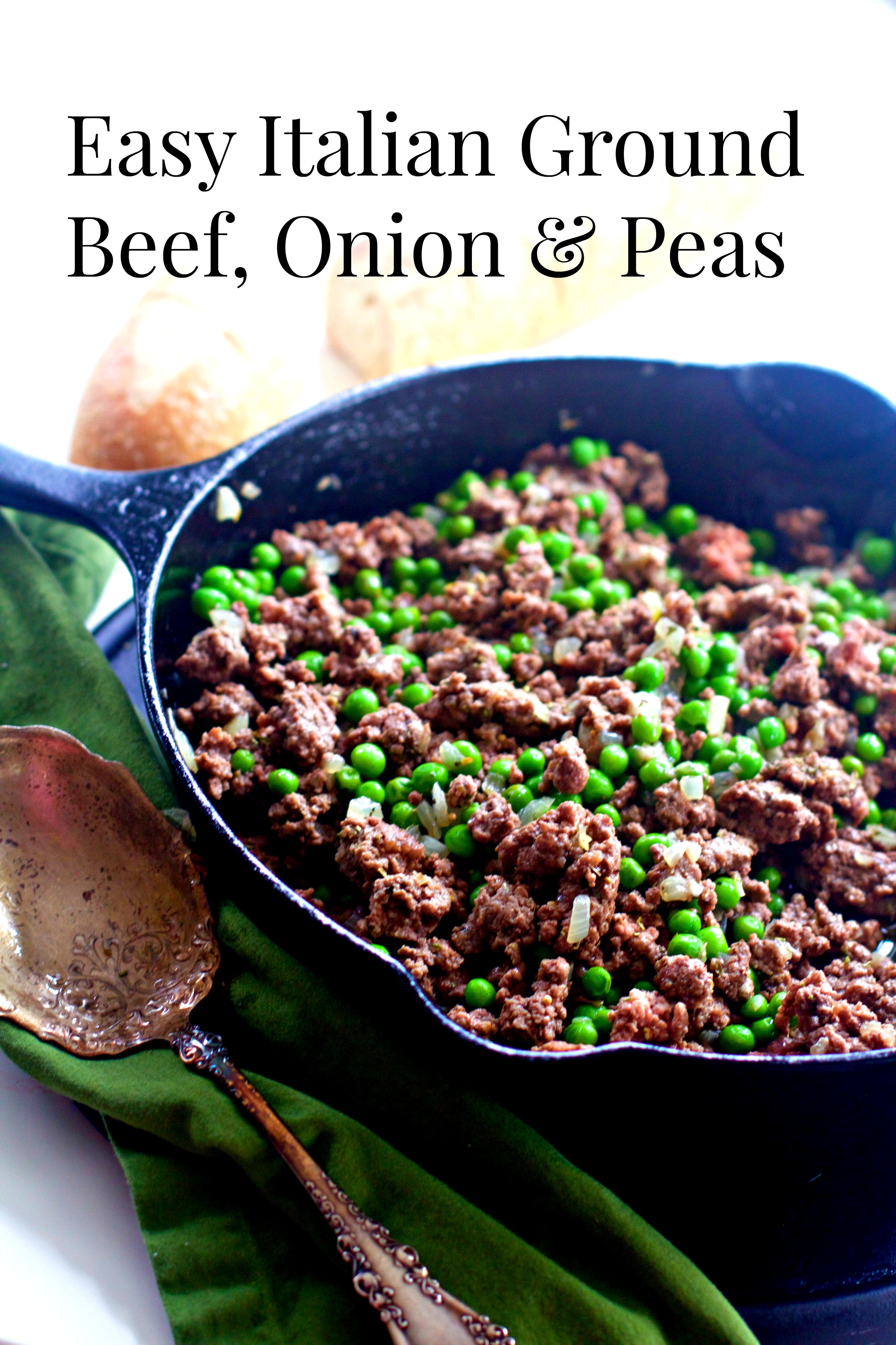 An easy, fast dinner, that is our fast go to. Peas, onions, and olive oil add a nice flavor to fast ground beef. via @angelaroberts