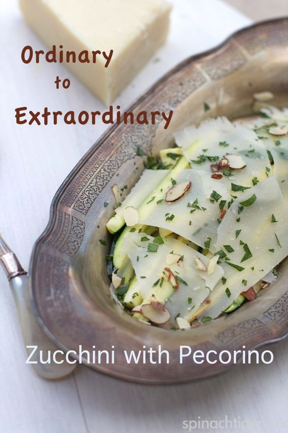 Zucchini with Sheer Slices of  Pecorino and Roasted Almonds by Angela Roberts