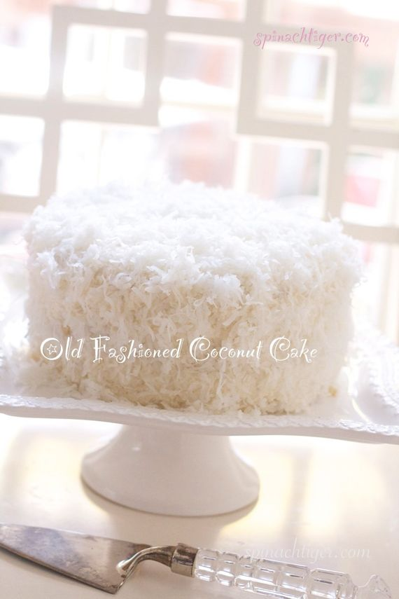 Coconut Cake with Buttercream Frosting from Spinach TIger