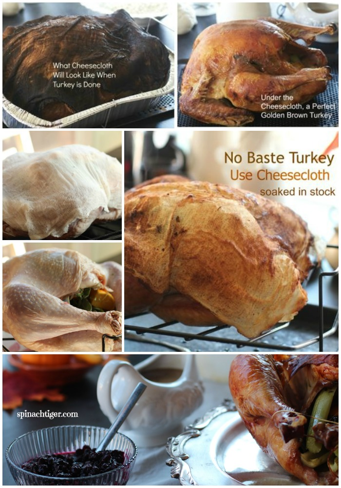 Cheesecloth roasted Turkey is the ONLY way I roast my turkey. So fun. You never have to baste. Using a dry brine, roasting turkey couldn't be any easier. #cheeseclothturkey #roastturkey #spinachtiger #thanksgivingturkey #thanksgivingrecipe via @angelaroberts