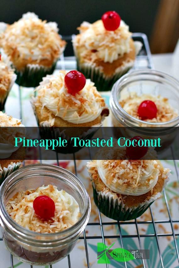 Pineapple Toasted Coconut Cupcakes by Spinach Tiger