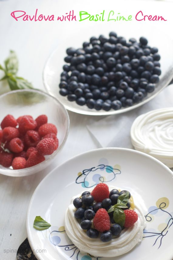 Pavlova Cups with Basil Lime Cream Berries by Angela Roberts