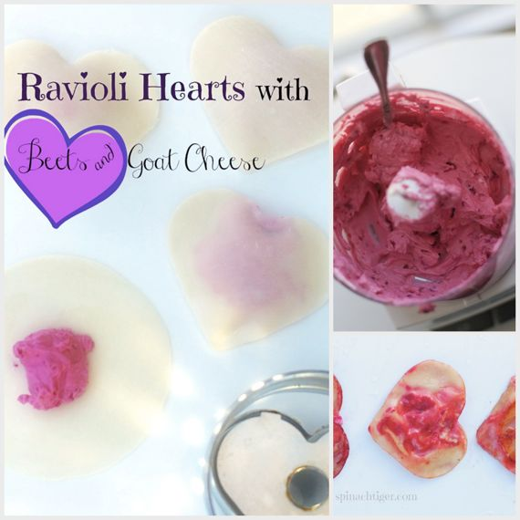 Ravioli Hearts with Won Ton Wrappers, Beets and Goat Cheese by Angela Roberts