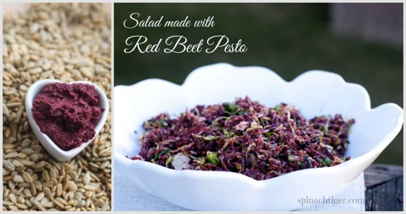 Red Beet Pesto and Red Beet and Brussels Sprouts Salad by Angela Roberts