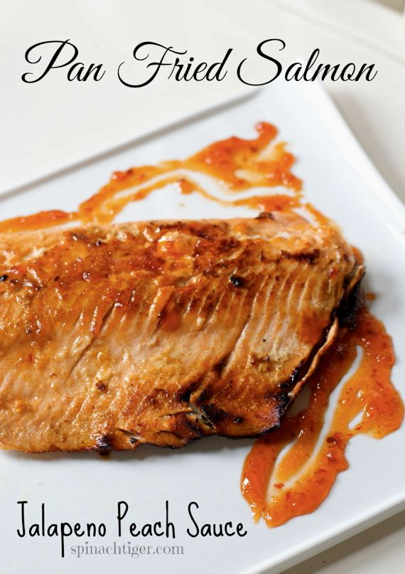 Pan Fried Salmon with Jalapeno Peach Sauce by Angela Roberts