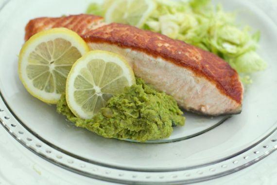 Tarragon Pea Mash with Seared Salmon by Angela Roberts