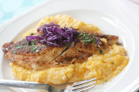 Fish and Sweet Potato Grits from Spinach Tiger