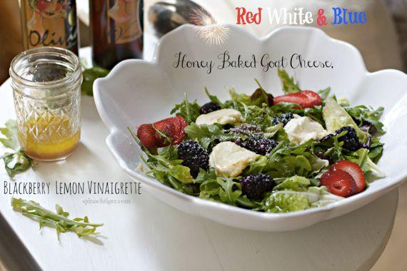 Honey-Baked Goat Cheese Salad with blackberry lemon vinaigrette