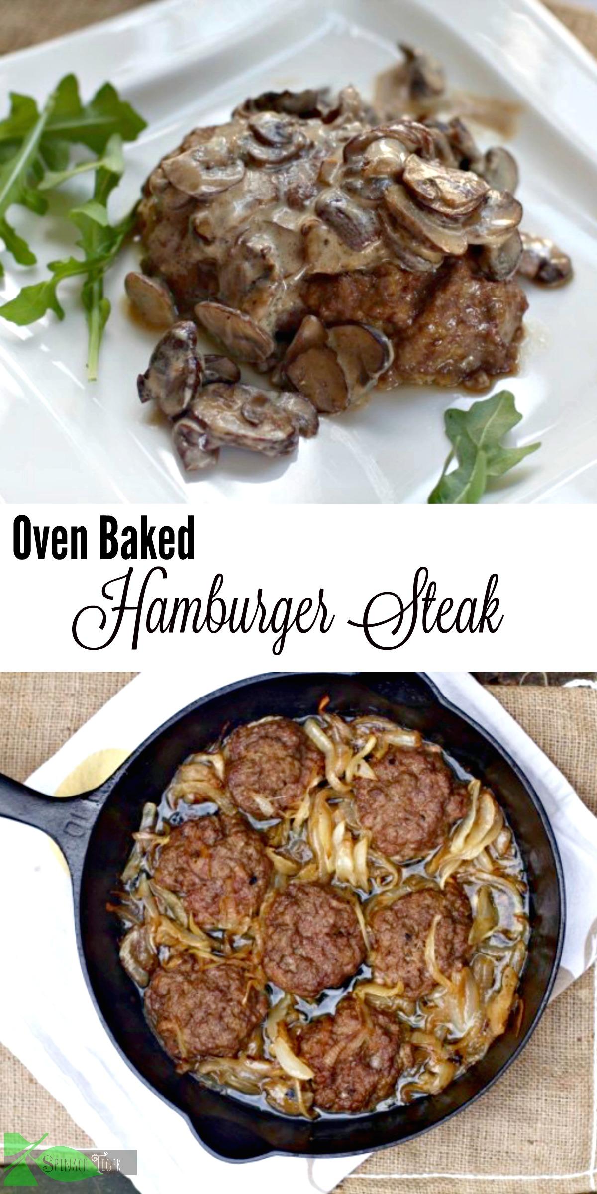 Oven Baked Hamburger Steaks with caramelized onions or mushroom. #ketodinner #groundbeef #spinachtiger #hamburger #hamburgersteaks #easydinner via @angelaroberts