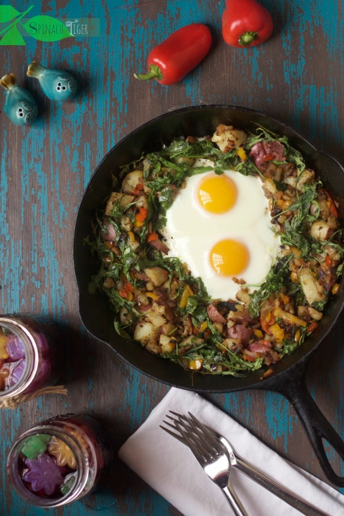 Oven Fried Sunny Side Up Eggs with Arugula from spinachtiger