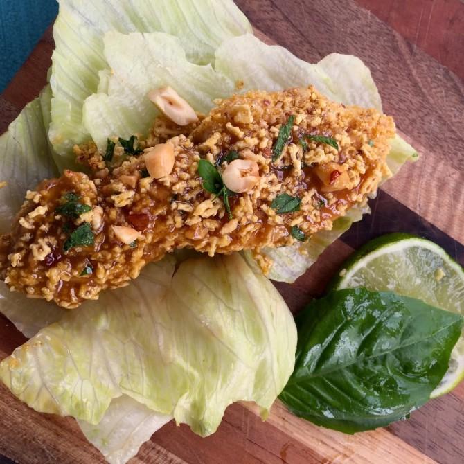 Chicken Lettuce Wraps with Honey Lime Peanut Sauce, Gluten Free Chicken Tenders