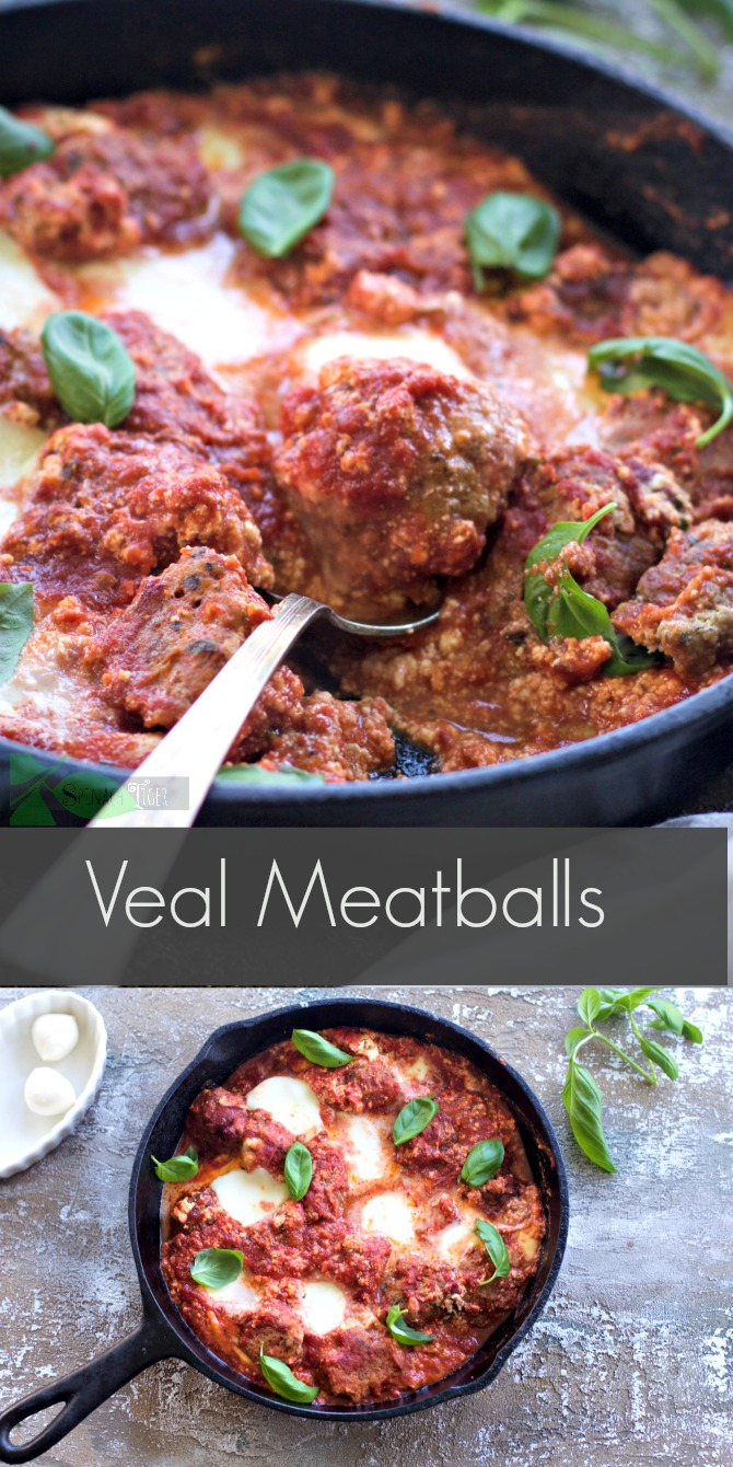 Veal Meatballs with Ricotta and Mozzarella Cheese from Spinach Tiger