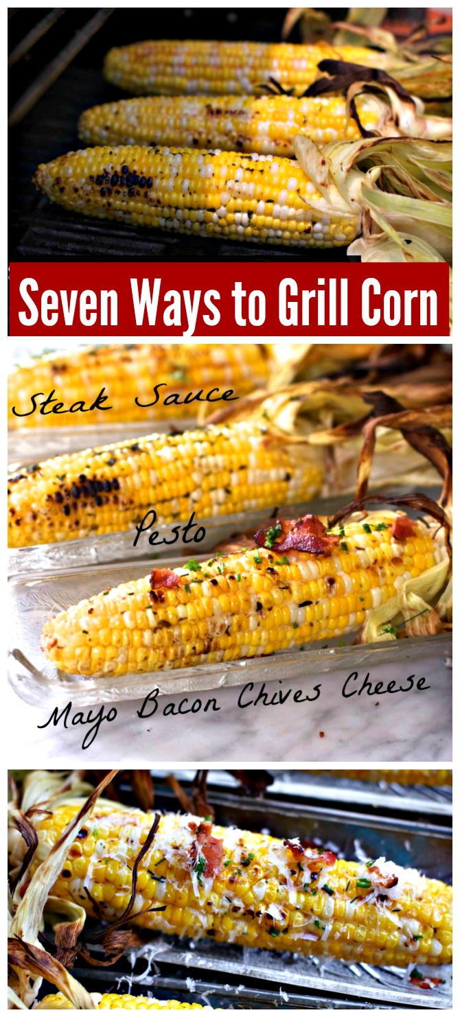 Seven Ways to Grill Corn. Bacon, Mayo, Chives, Thyme, Lime Butter, Pesto, Steak Sauce, Paprika and more. You will learn all you need to know about grilling corn. Grill in or out of the husk! #grillingcorn #cornonthecob #spinachtiger via @angelaroberts