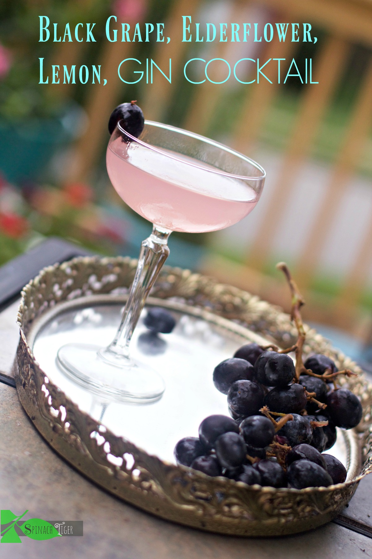 How to Make an elderflower gin cocktail with lemon, black grapes by Spinach Tiger