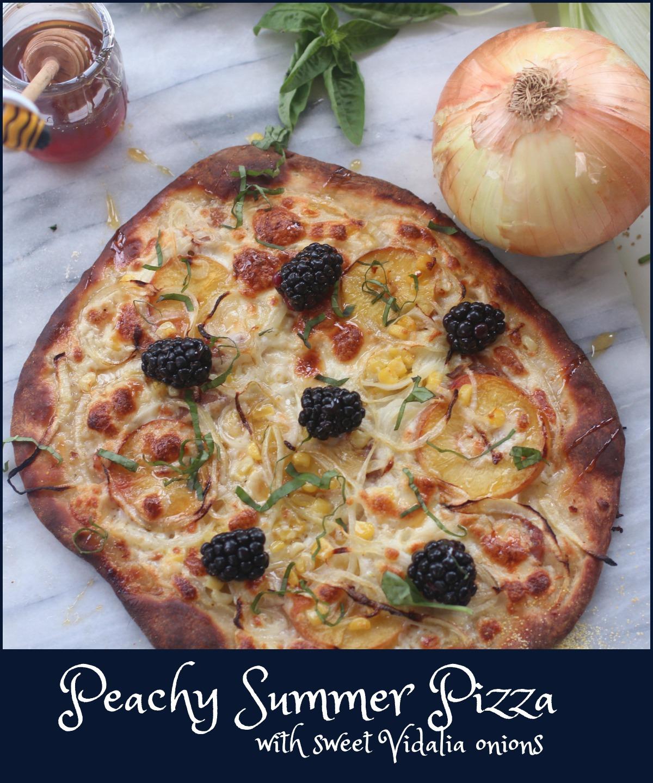 Peachy Vidalia Onion Pizza by Spinach Tiger