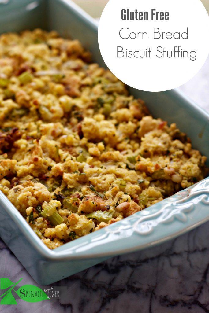 Gluten Free Cornbread Biscuit Stuffing Recipe from Spinach Tiger