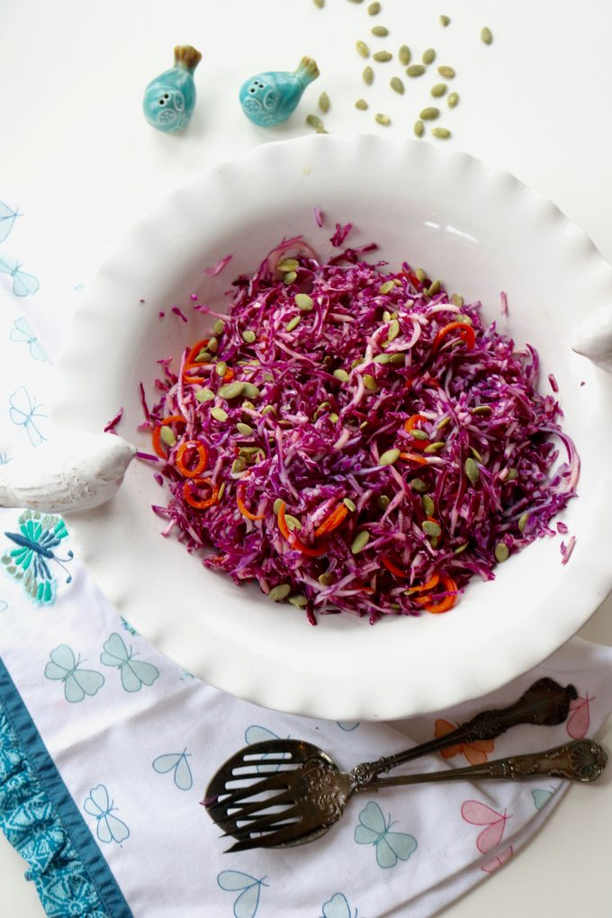 Red Cabbage Salad and Holiday Side Dishes from Spinach Tiger