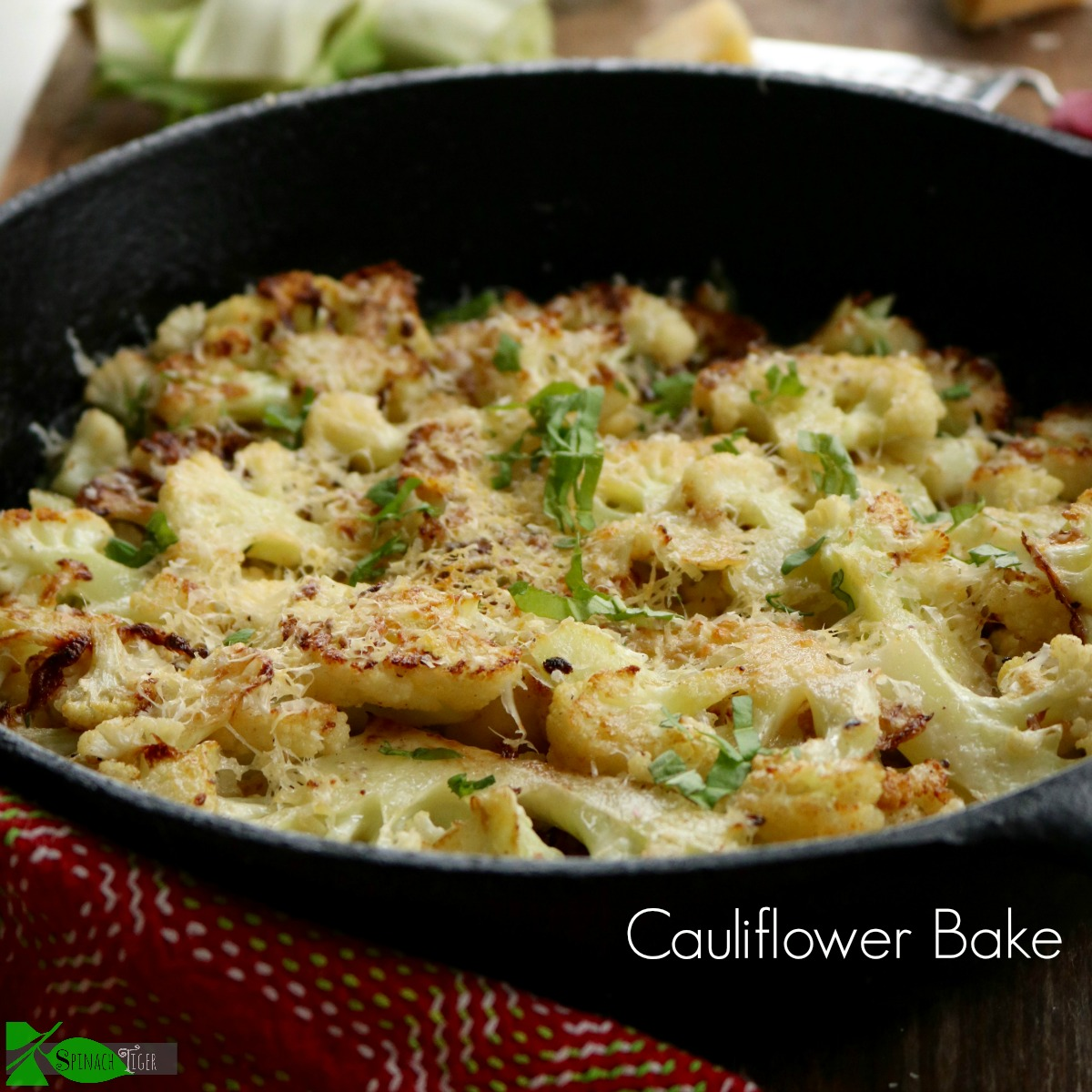 The BEST Oven Roasted Cauliflower Recipe with Butter and Parmesan from Spinach Tiger