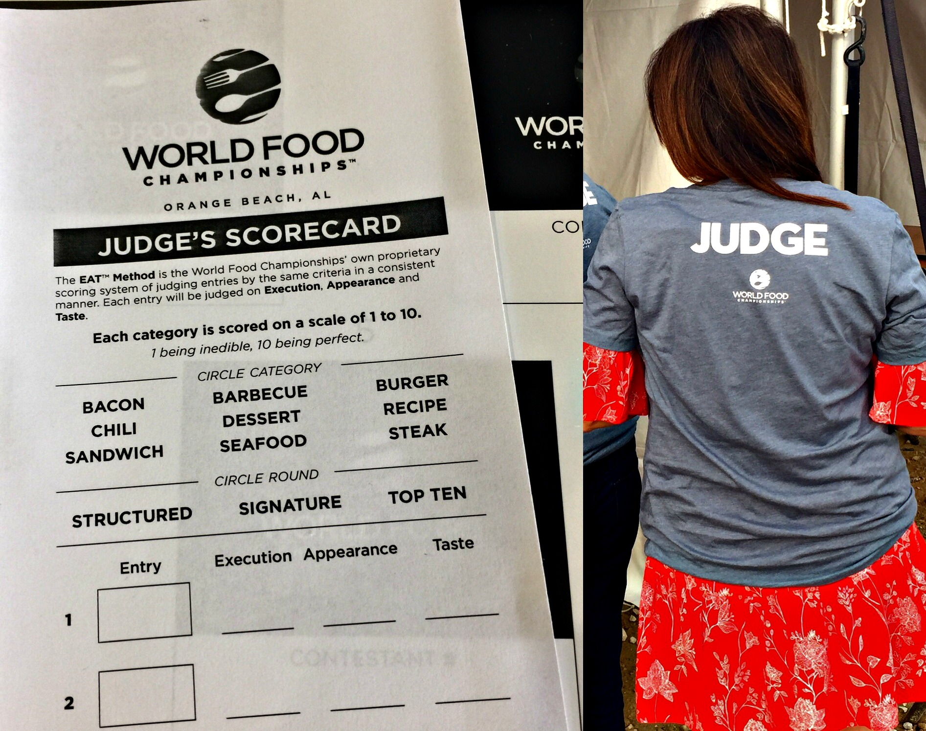Judges scorecard at World Food Championships to judge food competition