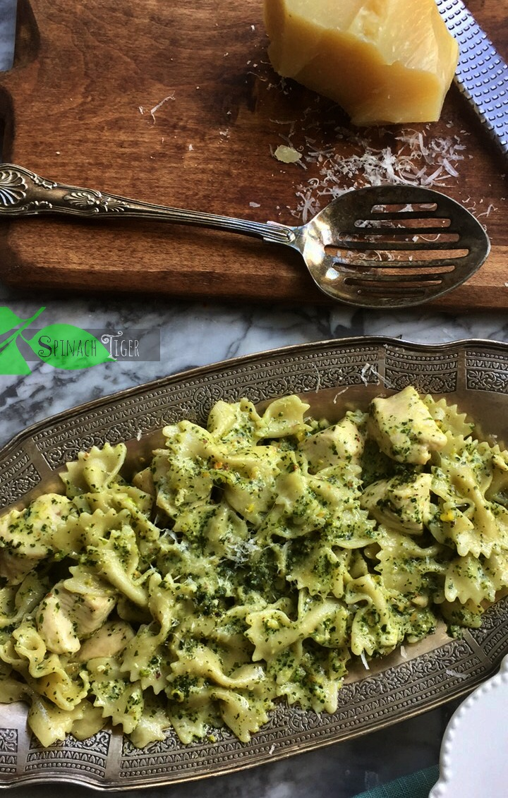 Italian Chicken Pasta Recipe with Pesto from Spinach Tiger