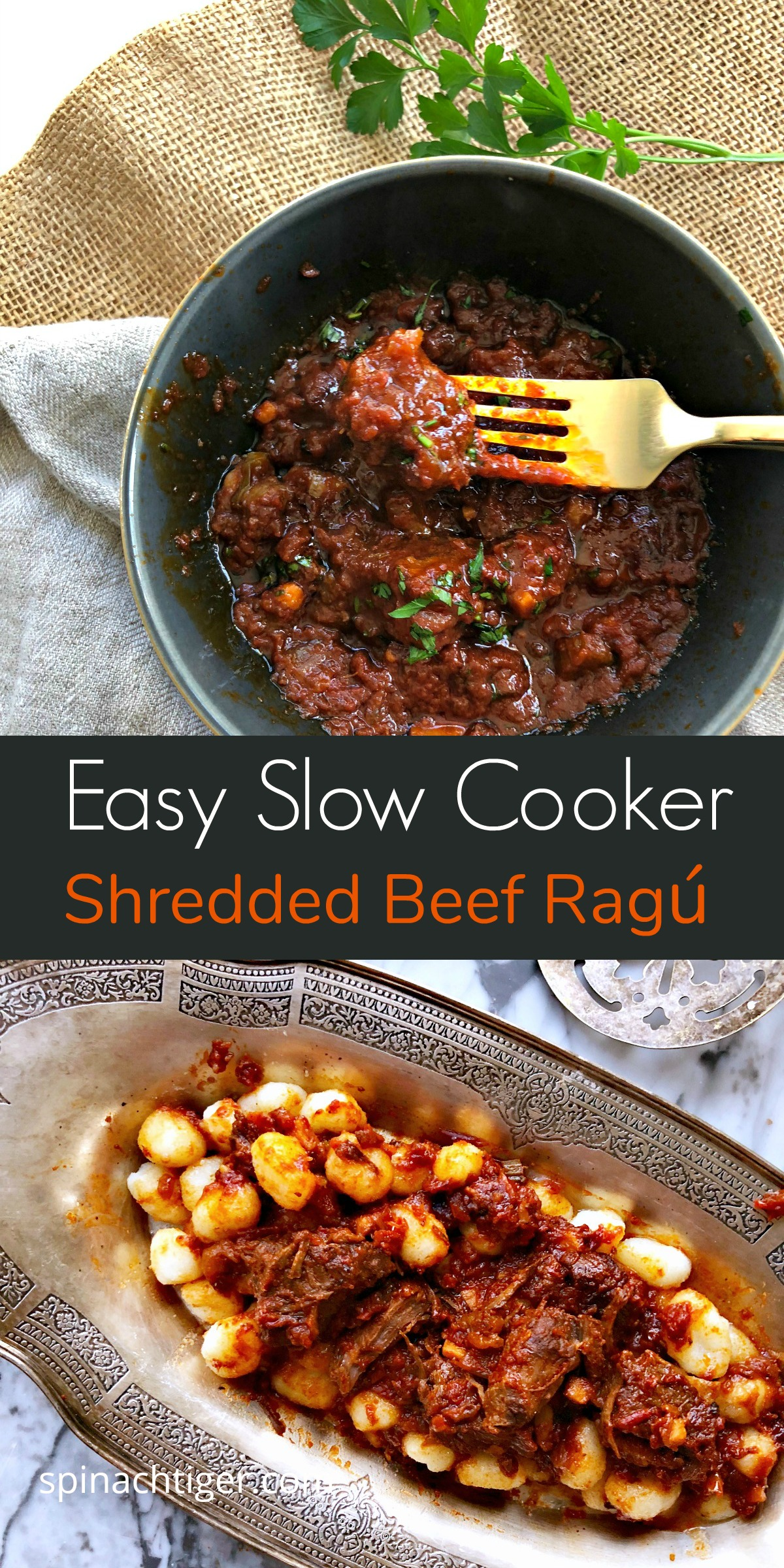 Easy, slow-cooker beef ragu made with cheap beef cubes, and a can of tomatoes. Fall apart beef can be served over potatoes, pasta, veggies or polenta. #spinachtiger #beefcubesrecipes #shreddedbeef #slowcookerbeef via @angelaroberts