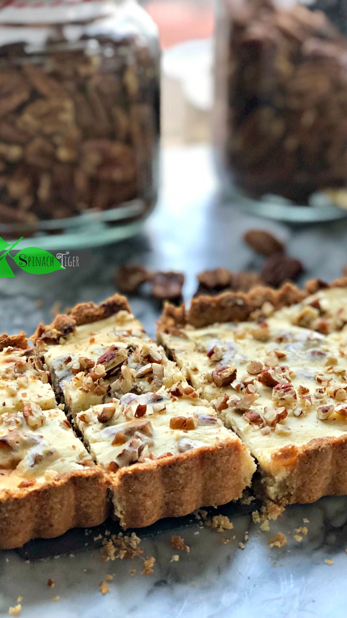 Sugar Free Maple Pecan Cheesecake Bars from Spinach Tiger
