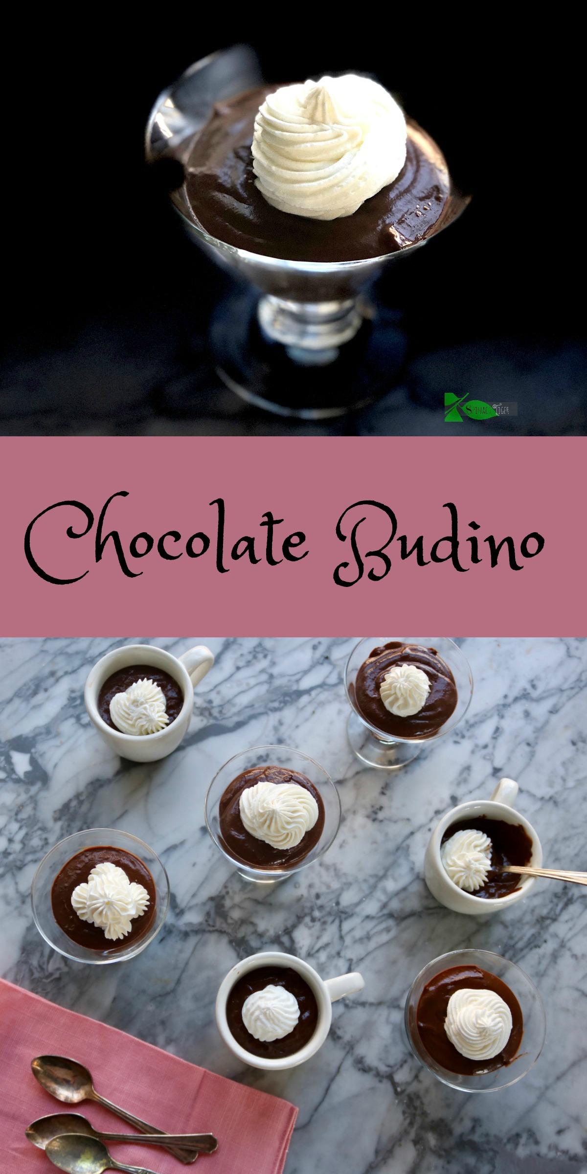 Chocolate Budino with a sugar free option. Thick delicious Italian chocolate pudding. via @angelaroberts