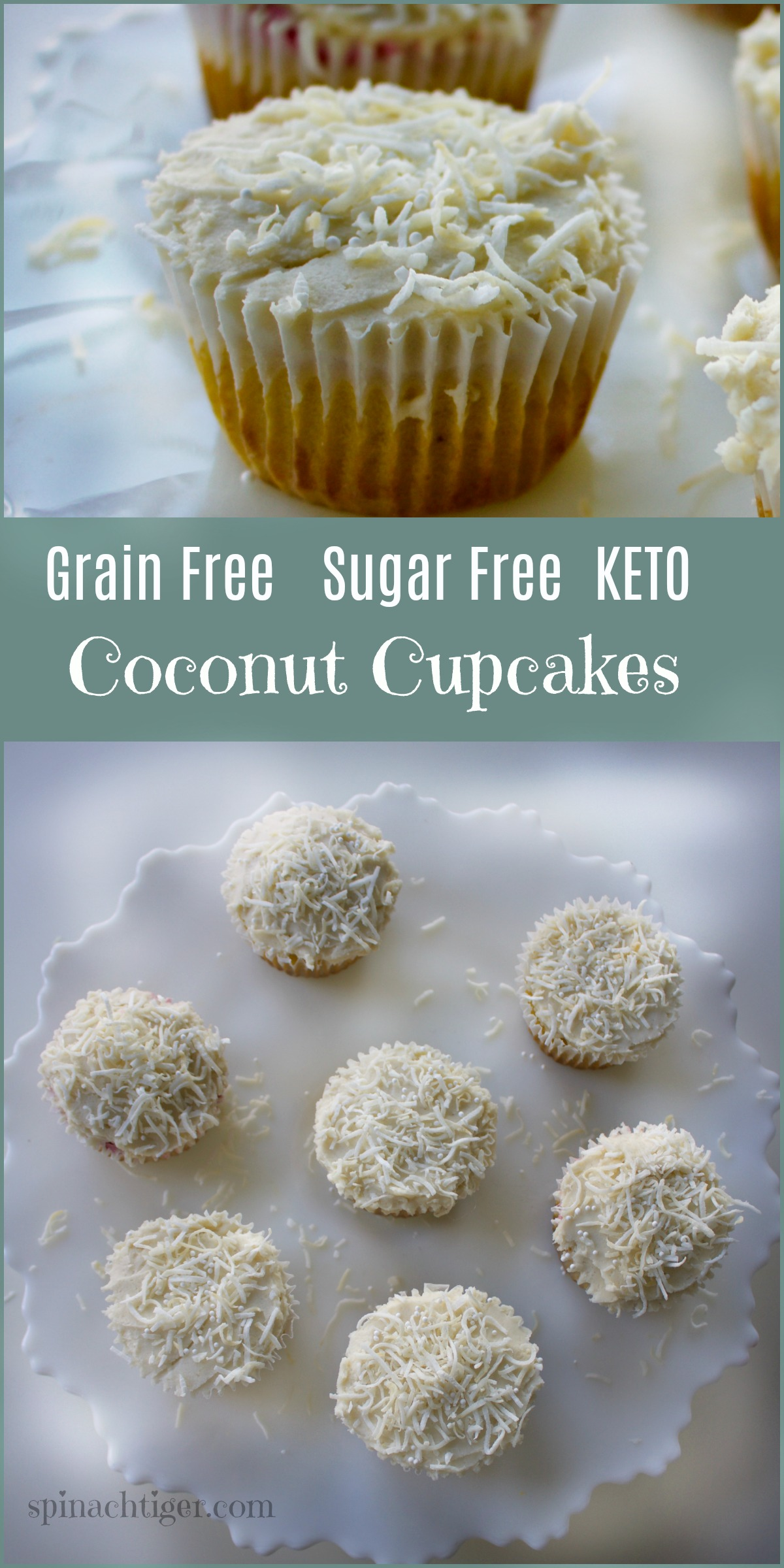 How to Make Grain Free Coconut Cupcakes, Keto, Low Carb from Spinach Tiger