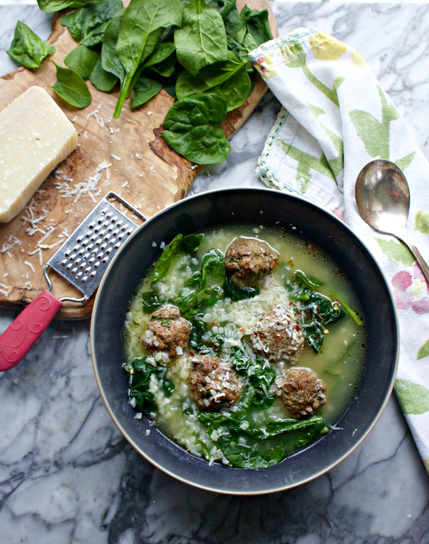 Italian Wedding Soup with Ground Beef Meatballs