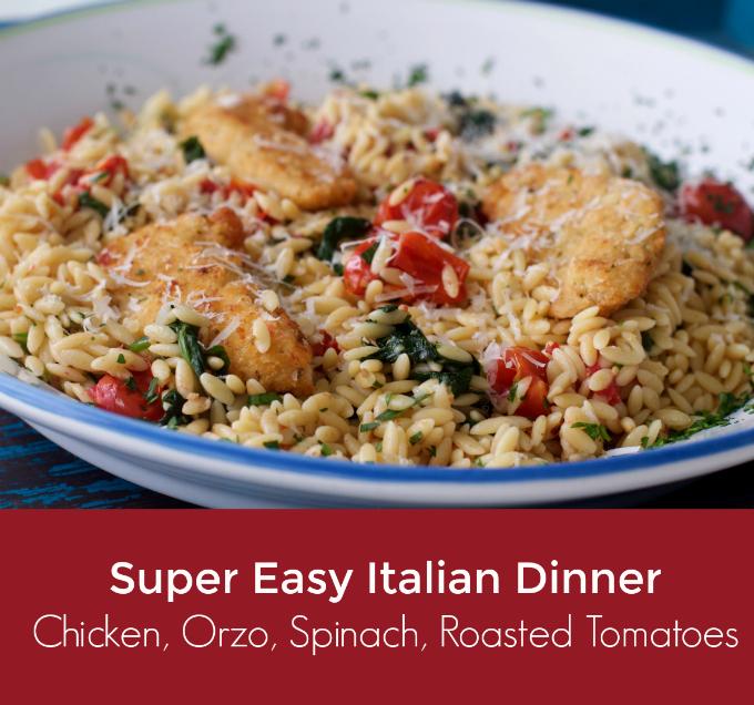 EASY DINNERItalian Chicken Orzo Pasta Recipe from Spinach Tiger #chickendinner #easydinner #Italianfood #orzo