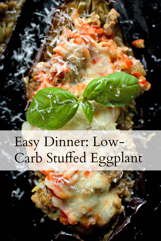 Low Carb Italian Stuffed Eggplant from Spinach Tiger #easydinner #lowcarbItalian #ketoItalian