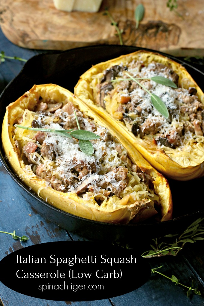 Creamy Spaghetti Squash, Italian Sausage, Bacon, Pecorino for a delicious hearty low carb dish. You will make this dinner over and over. #lowcarbdinner #spaghettisquash #Italiansausage #mushrooms #spinachtiger #ketodinner via @angelaroberts