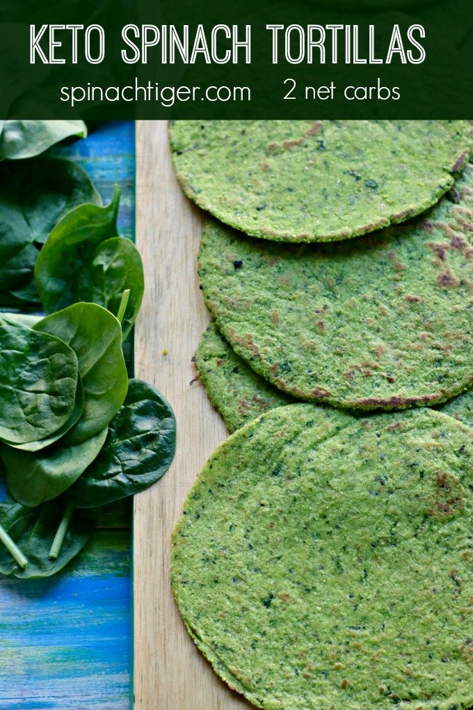 Delicious Spinach Grain Free Tortilla, keto friendly at 3 net carbs. Made with almond flour, coconut flour, egg and fresh spinach. PLIABLE. Use tortilla press and griddle and make your own low carb, keto, Gluten Free tortillas at home. #paleotortillas #glutenfreetortillas #ketotortilla #spinachtiger via @angelaroberts
