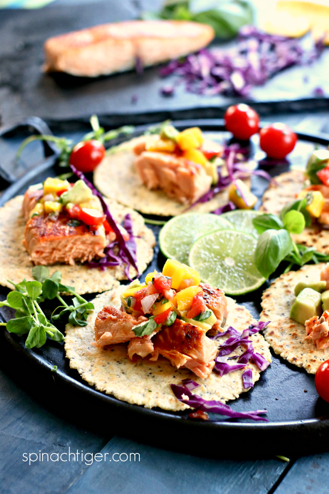 Grain Free Tortillas, Salmon Tacos