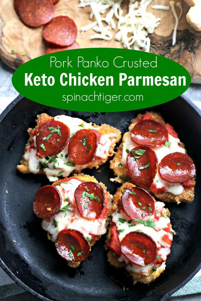 Keto Chicken Parmesan with Pork Panko. Low Carb, paleo, gluten free. #chickenparm #lowcarbparmesan #ketochickenparmesan #pepperoni #ketochickenrecipe #ketoItalianrecipe #spinachtiger via @angelaroberts