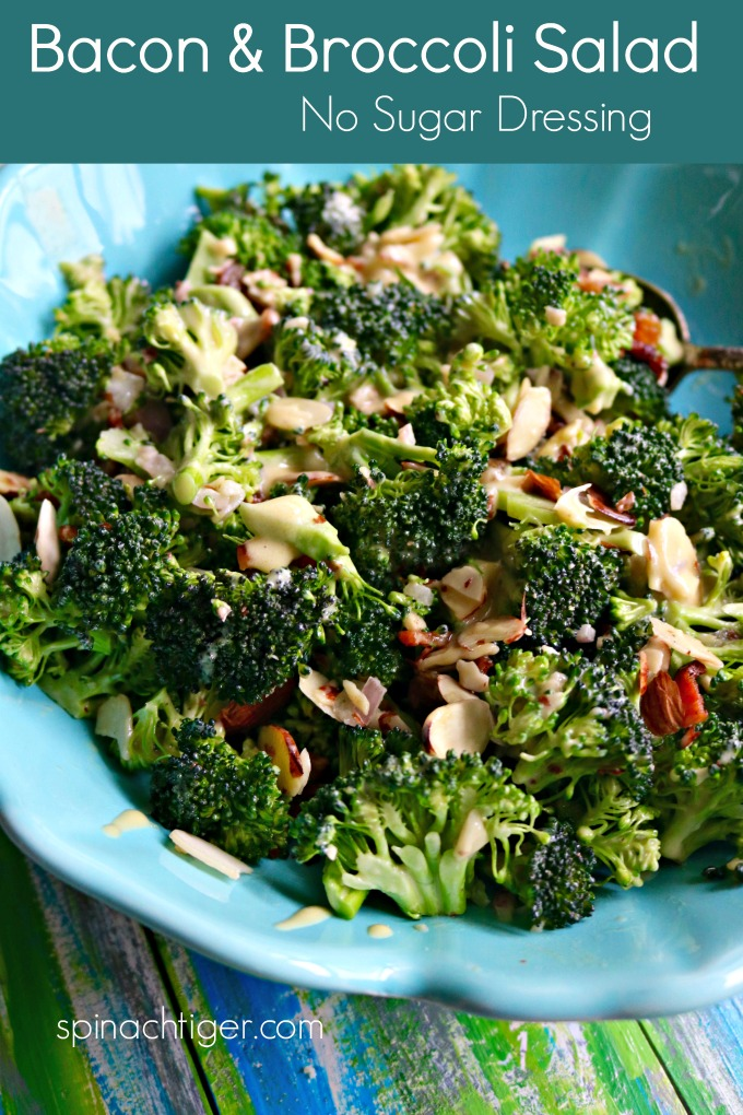 Broccoli Bacon Salad, no sugar added. #ketofriendly. Made with bacon, broccoli, mayonnaise. #lowcarbside #lowcarbsalad #lowcarbsalad #broccolirecipe #spinachtiger via @angelaroberts