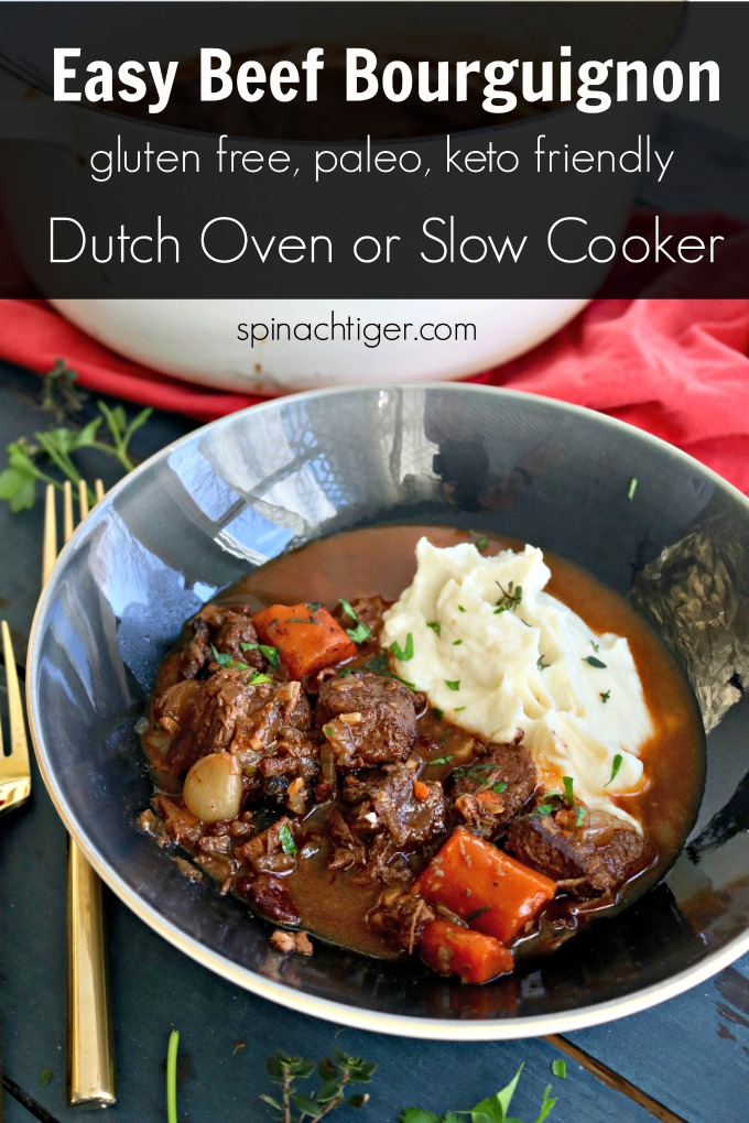 Easy Beef Bourguignon from Spinach TIger #beefbourguignon #beefstew #frenchrecipe