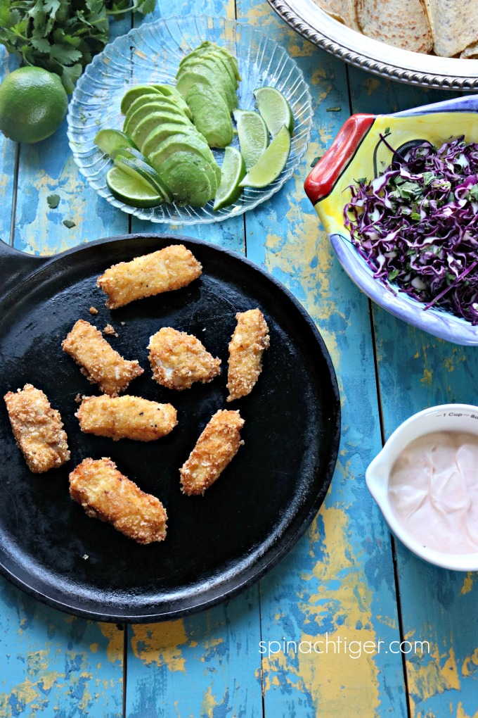 Keto Fried Fish Sticks for FishTacos from Spinach Tiger