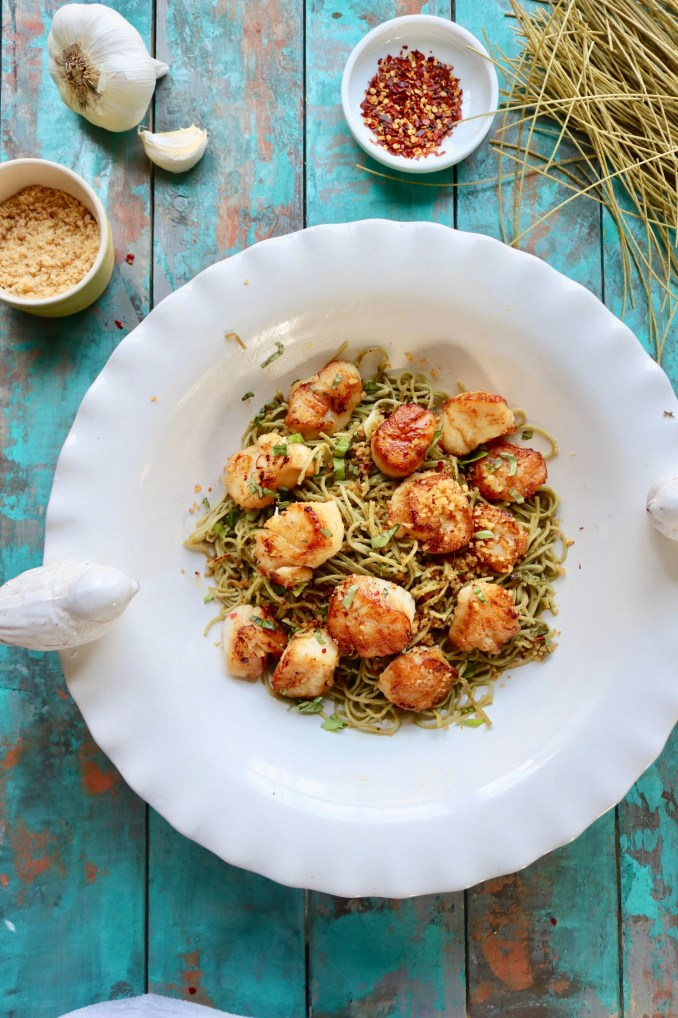 seared Scallops with pasta