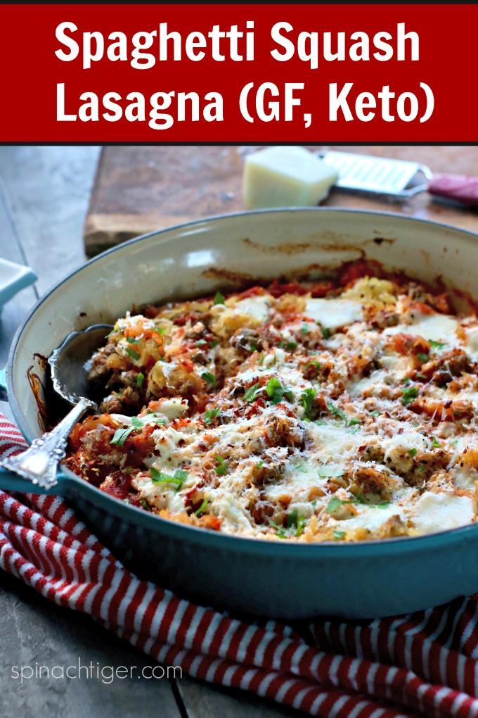 Keto Spaghetti Squash Lasagna, Gluten Free, Keto from Spinach Tiger #spaghettisquashlasagna #KetoItalianrecipe #ketolasagna