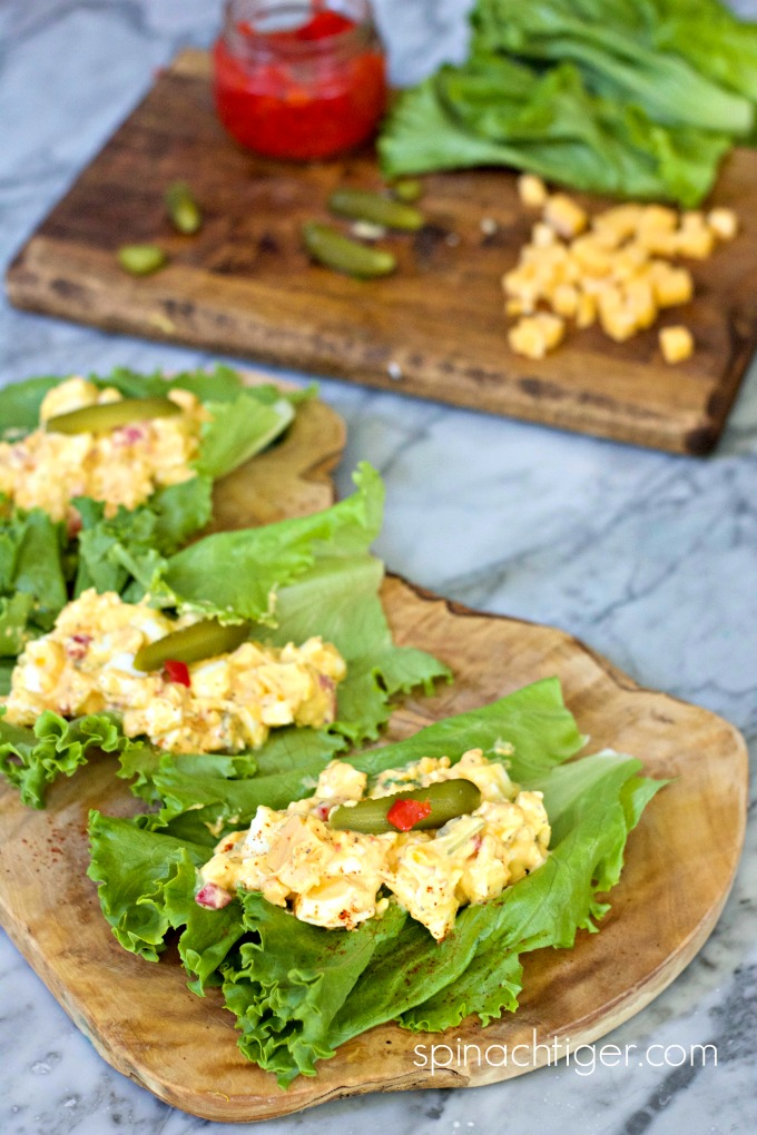 Pimento Egg Salad Lettuce Wraps from Spinach TIger