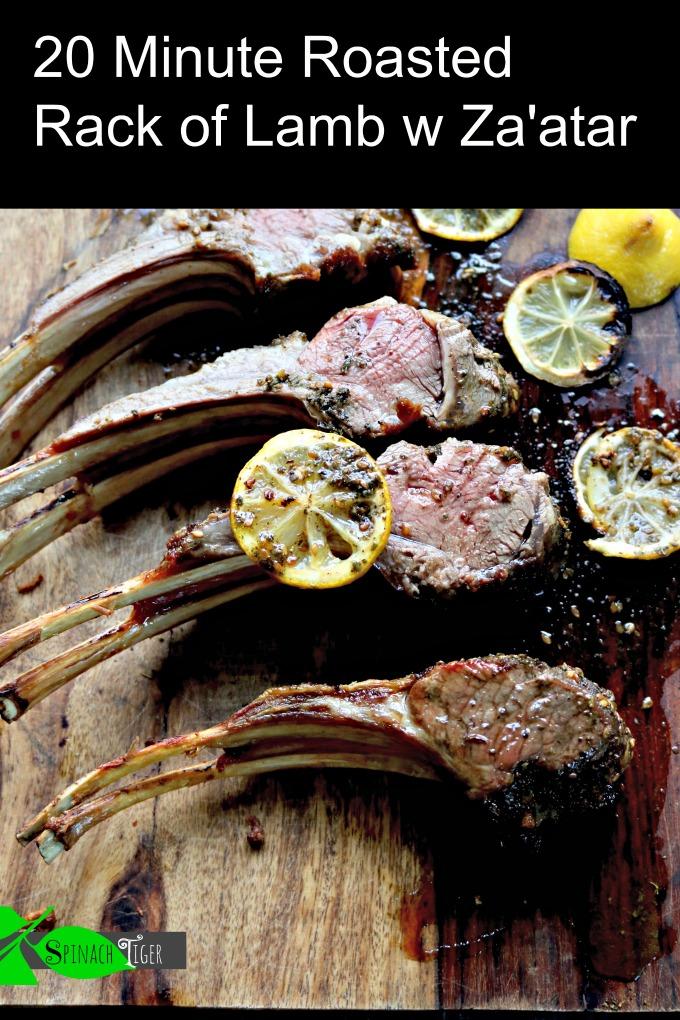 Easy, fancy, fast 15 minute roasted rack of lamb with za'atar spice cut lamb chops. From Spinach Tiger. #lambchops #zaatar #rackoflamb via @angelaroberts