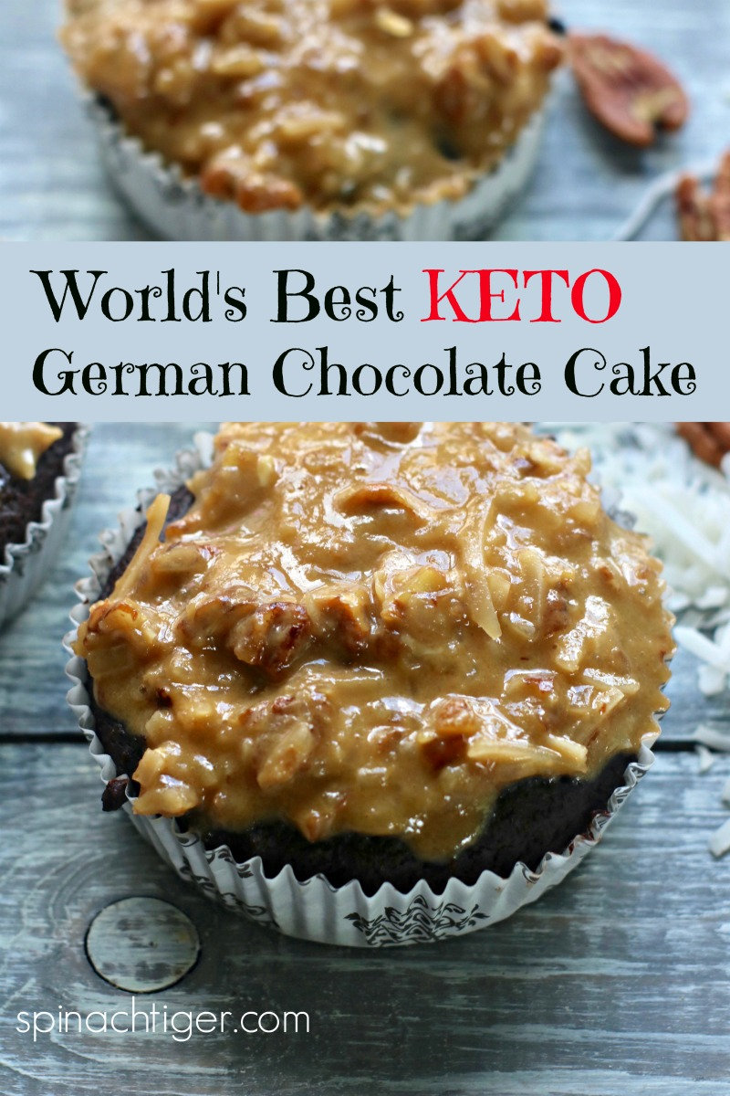 Keto German Chocolate Cake, from Spinach Tiger #ketogermanchocolatecake #ketocake #lowcarbgermanchocolatecake #ketodessert #spinachtiger via @angelaroberts