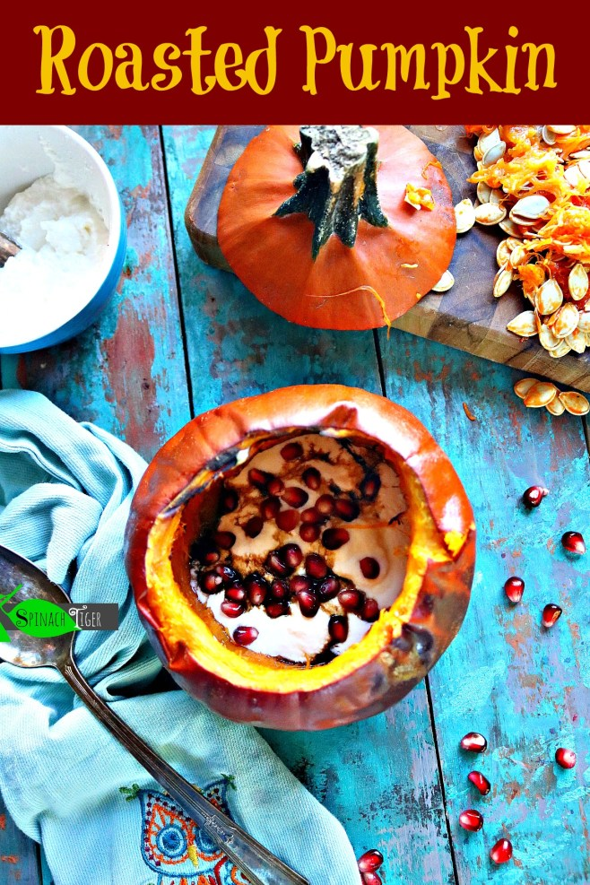 Roast Pumpkin with Ricotta, Pomegranate from Spinach Tiger