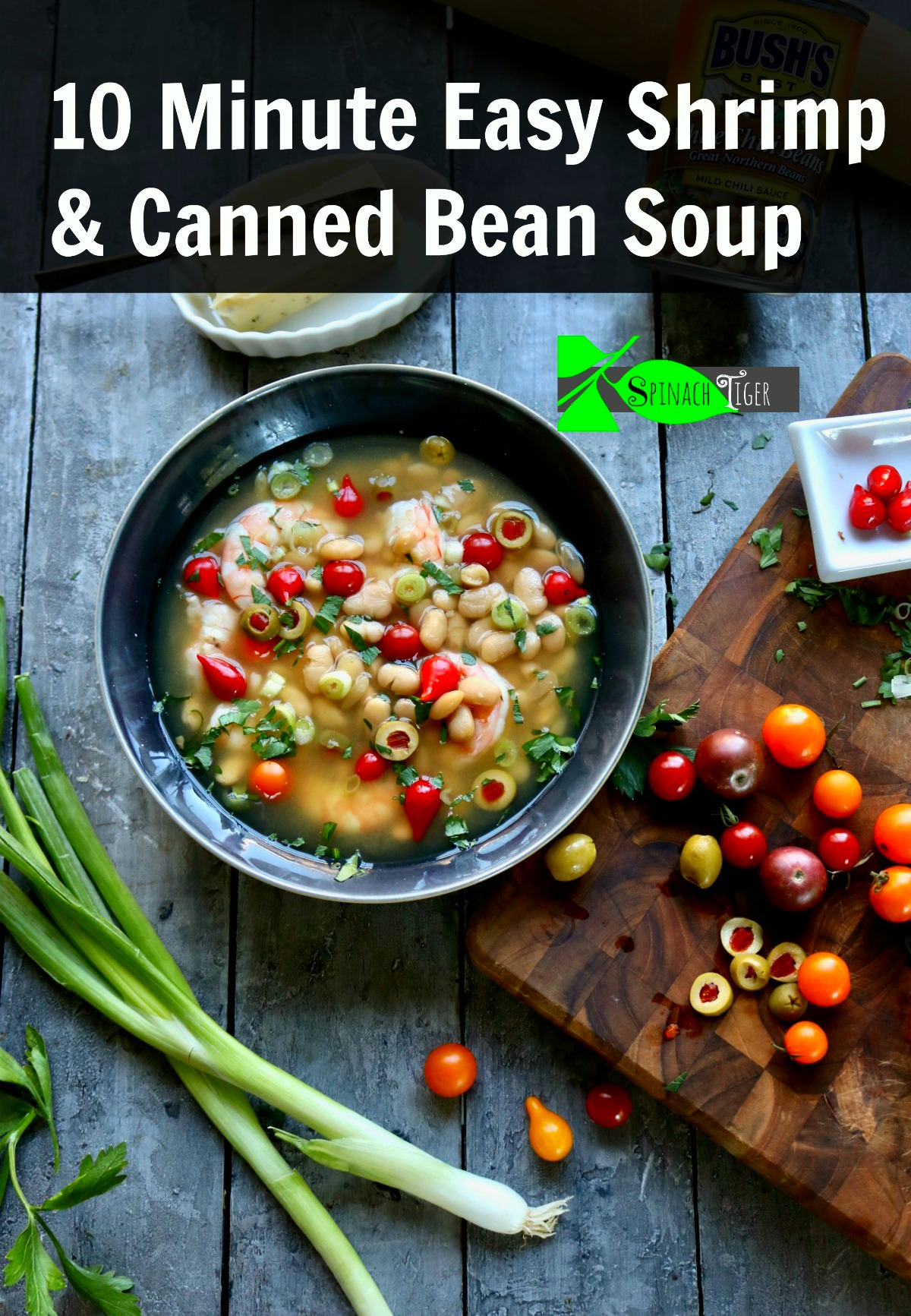 Easy Shrimp White Bean Soup made with frozen shrimp, olives, and canned white beans. #shrimpsoup #beansoup #shrimpwhitebeansoup #cannedbeans via @angelaroberts