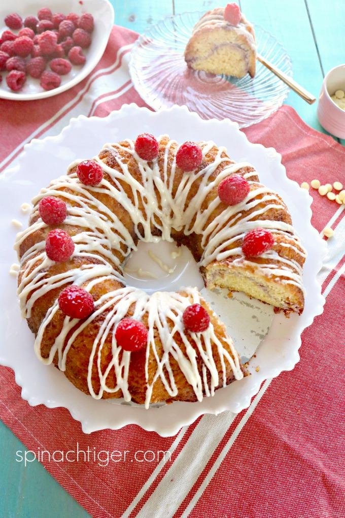 Keto White Chocolate Raspberry Bundt Cake